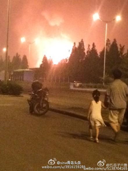 青島 天然ガス施設が爆発火災 02