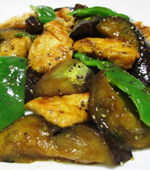 ナスと鶏むね肉の中華風カレー炒め 大