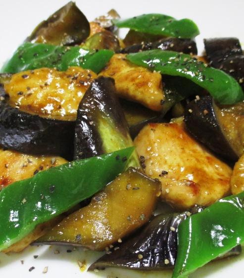 ナスと鶏むね肉の中華風カレー炒め 拡大