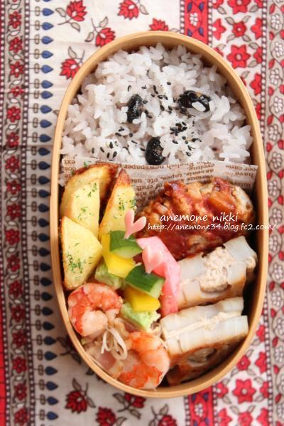 蓮根肉詰め黒豆ごはん弁当3