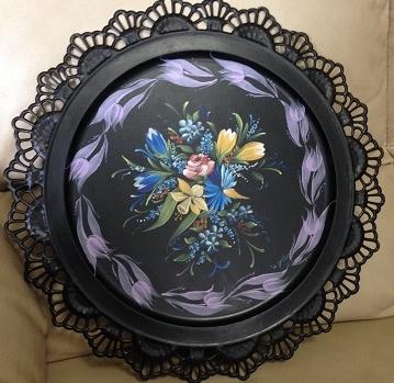 61黒プレート花