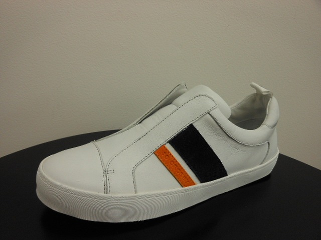 C2120004 WHITE SNEAKER LEATHER ORANGENAVY COW SUEDE