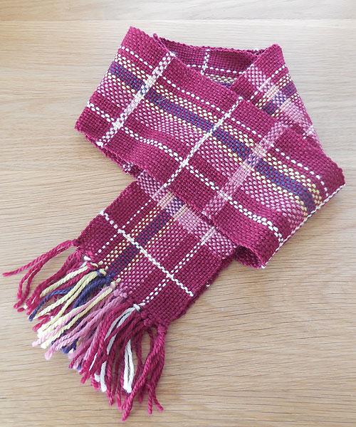 手織りマフラー 赤チェック