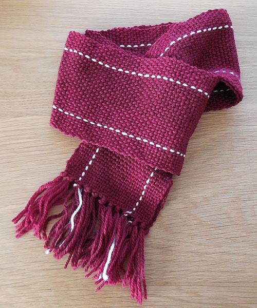 手織りマフラー 赤ライン