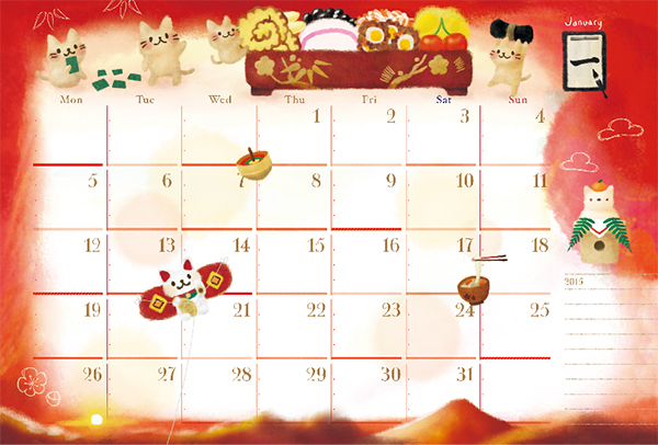 ちょこじろー_ねこカレンダー_1月