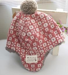 ぼんぼん付き帽子えんじ子供用-141117