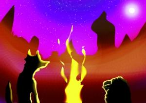 焚火と狼と羊