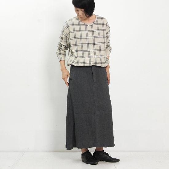 Vlas blomme (ブラスブラム) 綾リネンフレアロングスカート
