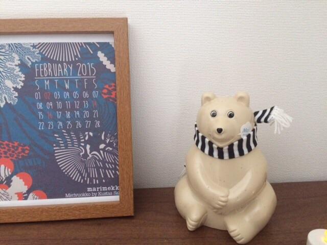 マリメッコmarimekkoカレンダー MK Tresmer エムケー トレスマー Polar Bear Money Box マフラー付き 北欧インテリア 北欧雑貨 置物 オブジェ
