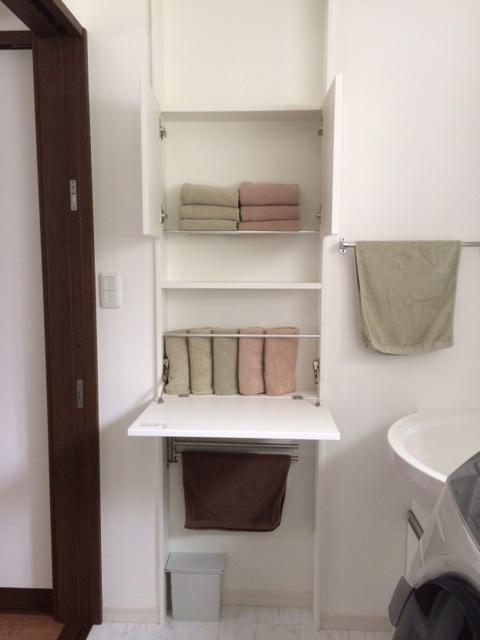 洗面所 脱衣所 新築一戸建て 洗面台 タオル収納 EIDAIスリムイン トゥシェ ホテルスタイル フェイスタオル