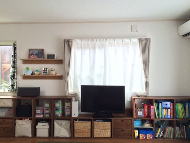リビング模様替え計画 無印良品 スタッキングシェルフ 壁に付けられる家具・棚