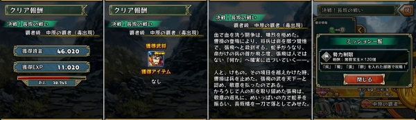 決戦!長坂の戦い 覇者級 クリア報酬