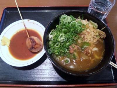 141204讃岐製麺天白植田店カレーうどん390円味噌おでん120円