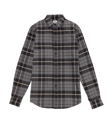 SH22 FLANNEL CHECK LS SHIRTS GREY_R