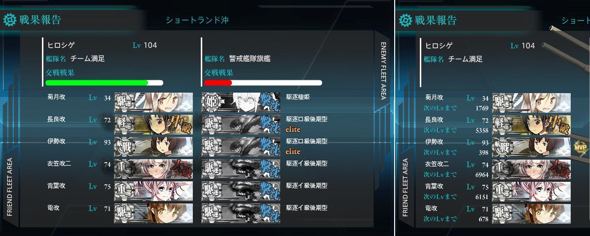夏イベ15 E-1クリア画面