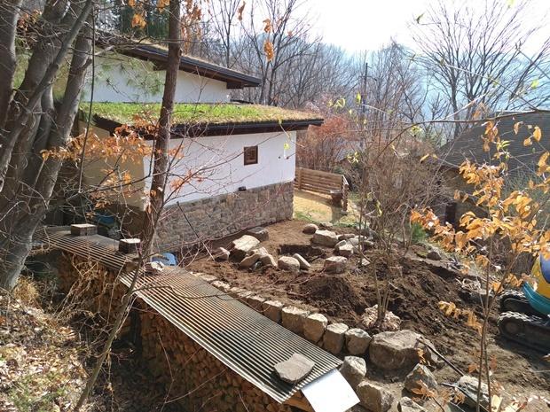 石積みの家 コテージ西側工事