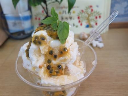 パッションフルーツの大理石アイス