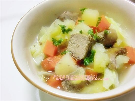 鶏レバーとりんごのスープ煮♪