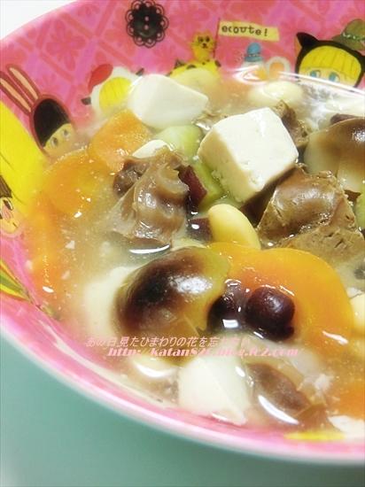 鶏レバーと野菜のとろり葛スープ♪