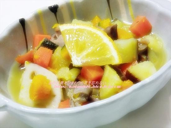 さつまいもと砂肝のオレンジ煮♪