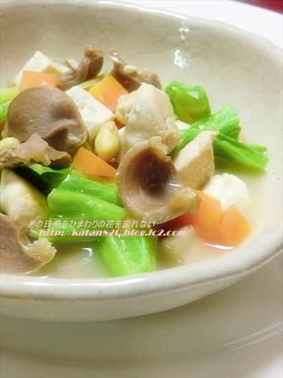 鶏(砂肝・ささ身)の豆腐と野菜煮込み♪