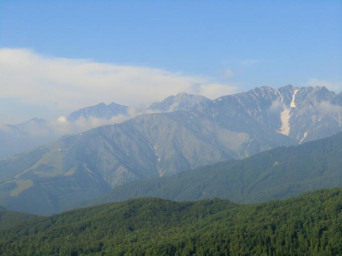 ゴンドラから鹿島槍ヶ岳、五竜岳、唐松岳