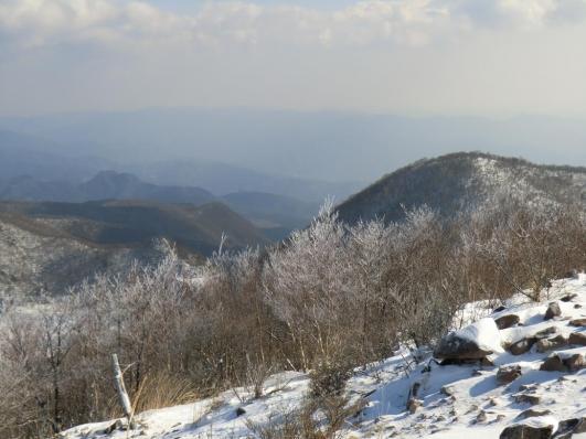 霧氷越しに小地蔵岳