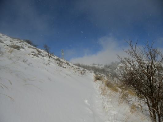雪煙上がる山頂