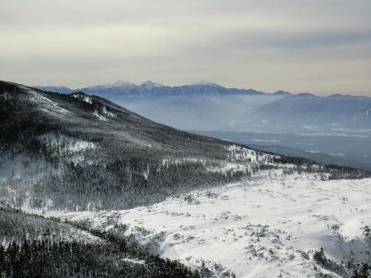 三ッ岳Ⅲ峰から坪庭、南アルプス