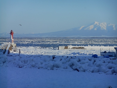 流氷と知床連峰