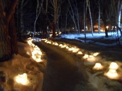雪あかりの街、川湯温泉