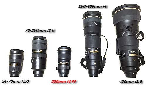AF-S NIKKOR 300mm f/4E PF ED VRの大きさ比較