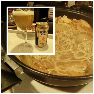 担々麺とプレミアムモルツ