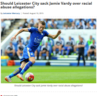 Should Leicester City sack Jamie Vardy over racial abuse
