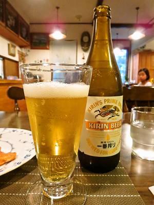 夕食時のビール