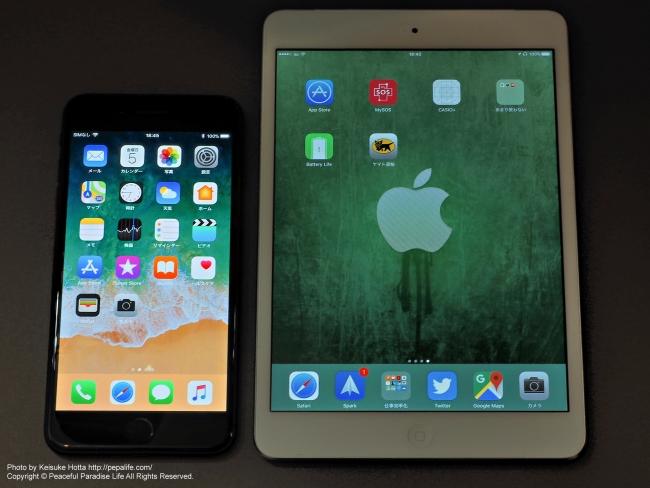 Apple iPhone 7 Plus と iPad mini 2 画面の大きさ比較