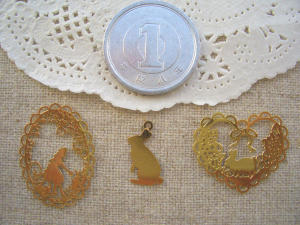 銅メタル:オーバルアリス、ウサギ、ハートウサギ