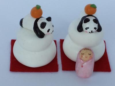 鏡餅パンダと赤ちゃん