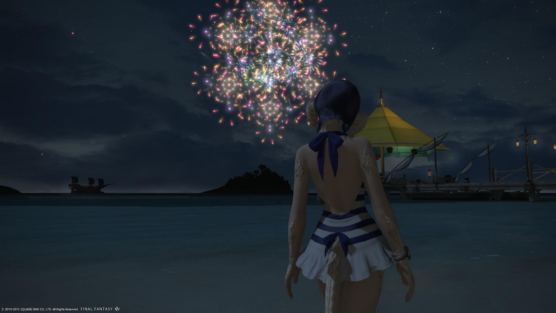 水着と花火