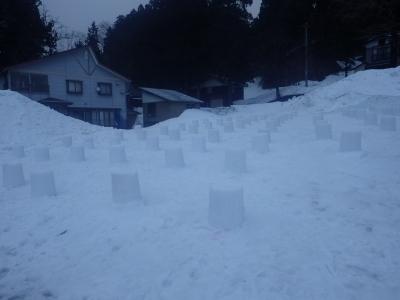 雪の灯篭(土台)完成!