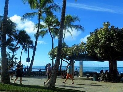 朝の浜辺は行き来する人ものんびりdownsize