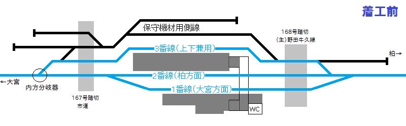 野田市駅の着工前の配線