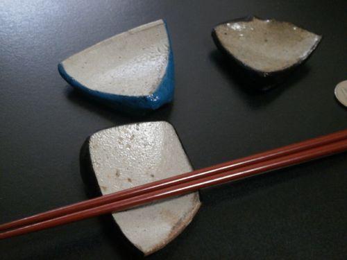 古唐津陶片箸置き3客1-1
