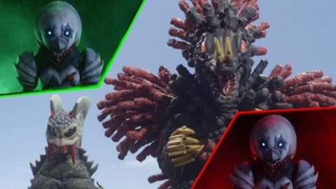 2匹の超獣に同時にライブするガッツ星人ボルスト(SD)