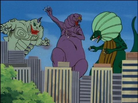 ウルトラマンジョーニアスを倒した怪獣たち(左から:ジナリオ、プラズーン、アグジョン)