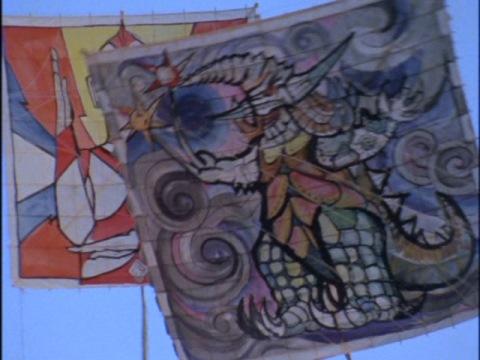 ゴースドンが描かれた怪獣凧