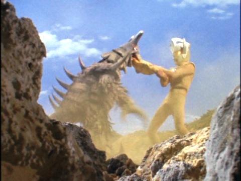 ボルケラーの胃袋を引っ張り出すウルトラマンタロウ