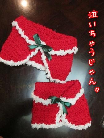 手編みのクリスマスケープ。