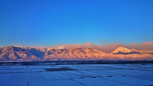 早朝冷え込んでいる安曇野