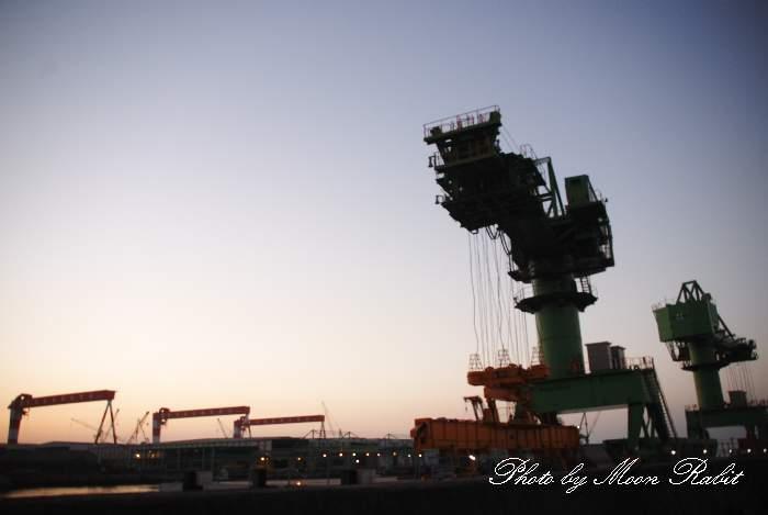 今治造船西条工場東ひうち事業部のクレーン